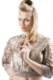 The sequin glittering creative make up girl, her f Royalty Free Stock Images