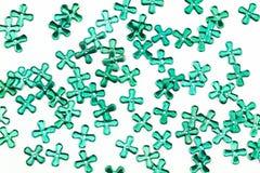 Sequin Grunge старый зеленый на белой предпосылке Стоковое Фото