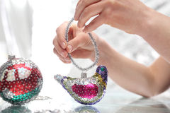 Sequined Christmas ornaments Royalty Free Stock Photography