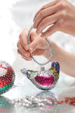 Sequined Christmas ornaments Royalty Free Stock Image