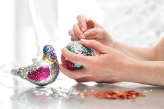 Sequined Christmas ornaments Stock Photography