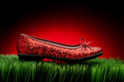 Sequined red slipper on green grass Royalty Free Stock Image