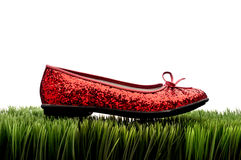 Sequined red slipper on  white Stock Image