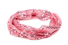 Sequined scarf. Pink sparkling sequined scarf on white background stock photography