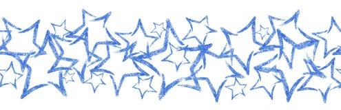 Sequins разбросанные фото звезды Безшовная граница с голубой звездой яркого блеска Стоковая Фотография