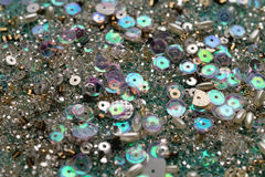 Sequins and beads abstract background Stock Images