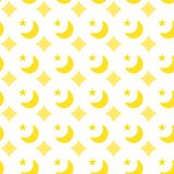 Sequins Moons Stars Seamless Pattern. Yellow golden sequins moons, stars and diamonds silhouettes on a white background. Sequins seamless texture pattern Royalty Free Stock Photo