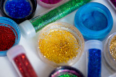 Sequins in tubes makeup Royalty Free Stock Photo