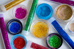 Sequins in tubes makeup Royalty Free Stock Images