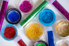 Sequins in tubes makeup Royalty Free Stock Photography