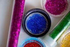 Sequins in tubes makeup Stock Photos