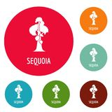 Sequoia icons circle set vector. Isolated on white background Royalty Free Stock Photos