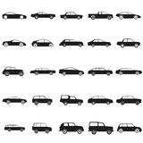 Ser cars - black vector icon Stock Images
