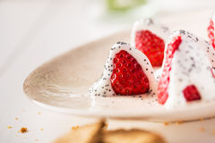 ser chałup truskawek jogurt Zdjęcie Royalty Free