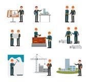Ser de la construcción, dirigiendo trabajadores industriales, los constructores que trabajan con las herramientas del edificio y  ilustración del vector