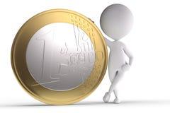 ser humano 3d con la moneda grande Imagen de archivo