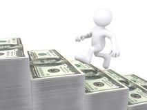 ser humano 3D que funciona con para arriba la escalera del dinero Imagen de archivo libre de regalías
