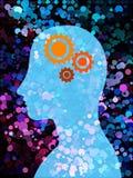 Ser humano azul con el mecanismo y el fondo colorido de la burbuja Imagenes de archivo