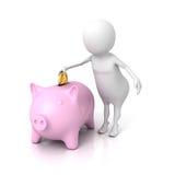 Ser humano blanco 3d que inserta una moneda en una hucha rosada Fotos de archivo libres de regalías