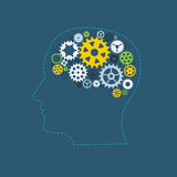 Ser humano Brain Concept de la rueda dentada de la rueda de engranaje de la máquina Imagen de archivo libre de regalías