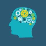 Ser humano Brain Concept de la rueda dentada de la rueda de engranaje de la máquina Illustra del vector Imagen de archivo