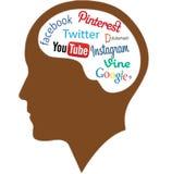 Ser humano Brain Full Of Social Networking, arte del vector Imagen de archivo
