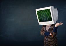 Ser humano cibernético con un código de la pantalla y de ordenador de monitor en el desplazamiento Imagen de archivo