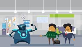 Ser humano contra homens modernos robóticos dos robôs e de negócio no conceito da inteligência artificial do escritório ilustração do vetor