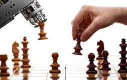 Ser humano contra a máquina Imagens de Stock