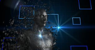 Ser humano 3d futurista sobre o fundo abstrato Fotografia de Stock Royalty Free