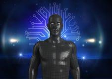 ser humano 3d sobre o fundo abstrato Foto de Stock Royalty Free