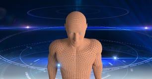 ser humano 3d sobre o fundo futurista Imagens de Stock Royalty Free