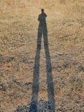 Ser humano da sombra na grama seca Imagem de Stock