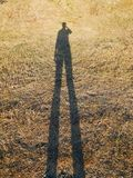 Ser humano da sombra na grama seca Fotografia de Stock Royalty Free