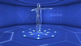 Ser humano de Digitas no estúdio azul filme
