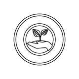 ser humano de la mano con el icono aislado planta de las hojas Fotos de archivo libres de regalías