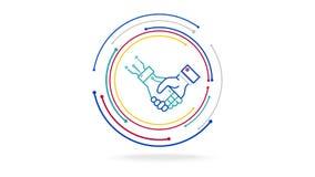 Ser humano e tecnologia futurista da coopera??o do ai ilustração do vetor