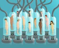 Ser humano nos tubos de ensaio Fotos de Stock Royalty Free
