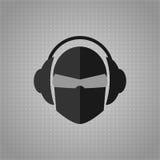Ser humano ou cabeça do androide, com vidros e fones de ouvido ilustração do vetor