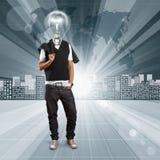 Ser humano principal de la lámpara contra fondo conceptual Foto de archivo libre de regalías