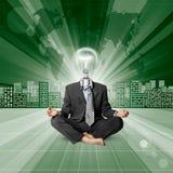Ser humano principal de la lámpara contra fondo conceptual Imagen de archivo