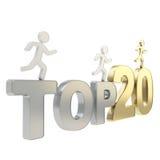 Ser humano que funciona con figuras simbólicas sobre el top veinte de las palabras Imagen de archivo