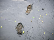 Ser humano Trace Foot Print en la tierra del fango texturizada Imagen de archivo