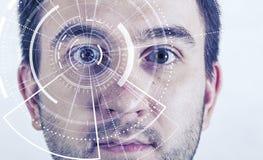 Ser humano vis?o futurista, vis?o e controle e prote??o das pessoas, do controle e da seguran?a nos acessos Conceito de foto de stock