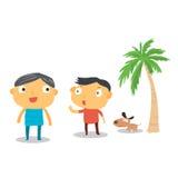 Ser humano y perro en la playa ilustración del vector