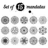 Ser of 15 mandalas Royalty Free Stock Photo