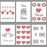Ser of Valentine's Day cards Stock Images