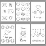 Ser of Valentine's Day cards Royalty Free Stock Photos