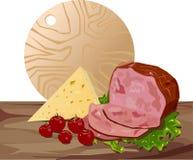 Ser, wołowina i pomidory na białym tle, Obrazy Royalty Free