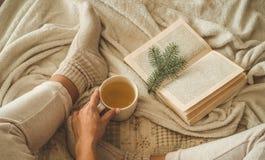 Sera accogliente di inverno, calzini di lana caldi La donna è piedi di menzogne su sulla coperta e sul libro di lettura irsuti bi immagine stock